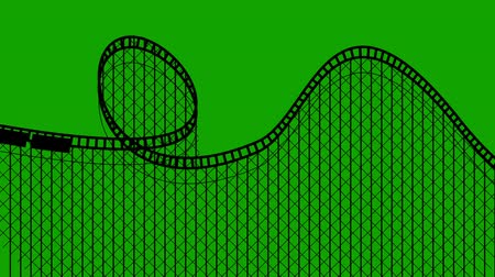 gigante : Amusement Park Roller coaster on a Green Screen Seamless Looping Vídeos
