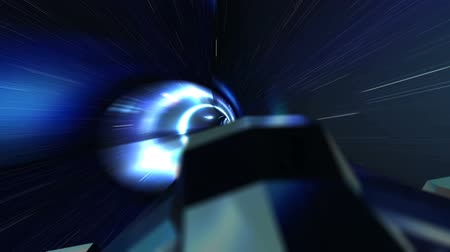 hyperspace : Spaceship Flying Through a Wormhole in Light Speed Seamless Loop Stock Footage