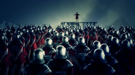 legion : Roman Centurion Gives a Speech in Front of a Legion Under Rain