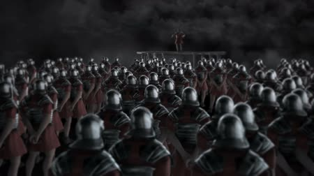 legion : Roman Centurion Gives a Speech in Front of a Legion Before a Battle