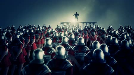 legionary : Roman Centurion Gives a Speech in Front of a Legion