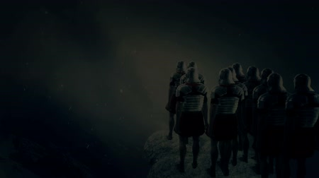 infantaria : Imperial Roman Soldiers Looking at a Battlefield Under a Snow Storm