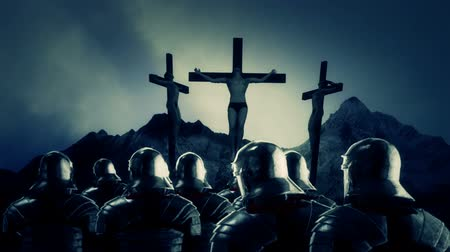 crucified : Roman Soldiers Looking at Crucified Men
