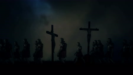 capital punishment : Roman Soldiers Passing By Crucified Victims Under a Storm