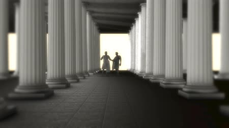 totalitarianism : Two Greek Roman Senators Talking Inside of a Greek Roman Temple