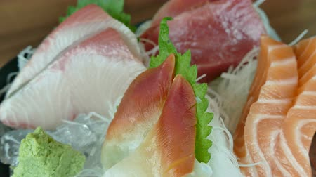 pauzinhos : Raw fresh Sashimi - japanese food style Stock Footage
