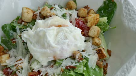 grzanki : Caesar salad with soft boiled egg