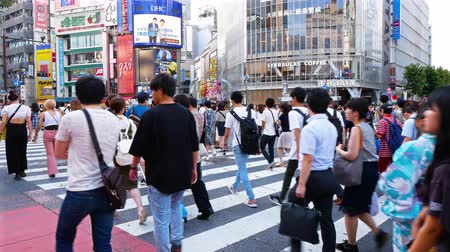 crossing road : TOKYO - JAPAN, JULY 29, 2018 : People walking the Shibuya crossing