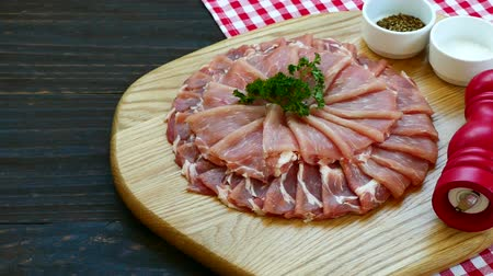 dana eti : Close up raw pork meat Stok Video