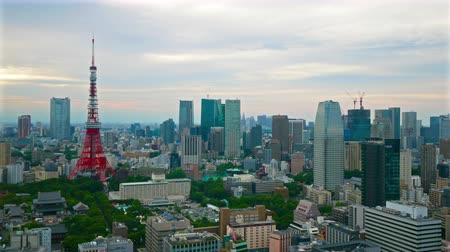 tokyo tower : Time lapse view at Tokyo city with Tokyo Tower in japan Stock Footage