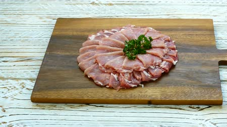 cielęcina : Close up raw pork meat Wideo