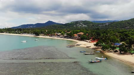 marine park : Aerial view of tropical sea and beach on white cloud and blue sky