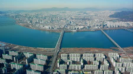 han river : 4K Time lapse Building of Seoul skyline in South Korea