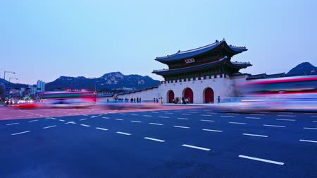 gyeongbok : Time lapse of Gyeongbokgung palace and traffic in Seoul South korea.