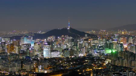 financial : 4K Time lapse Building of Seoul skyline with Seoul tower in South Korea