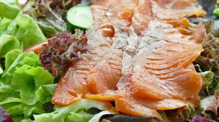 capers : Smoked salmon salad with fresh vegetable