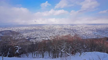 4K time-lapse van Sapporo stad in de Winter, Japan.