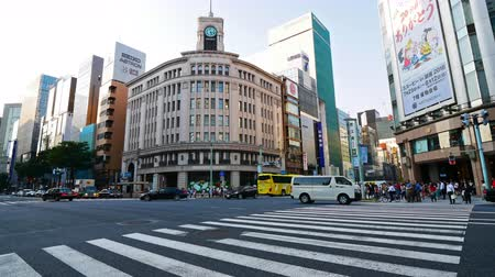 TOKYO - JAPAN, JULY 30, 2018 : People walking at Ginza shopping area in tokyo city japan Stok Video