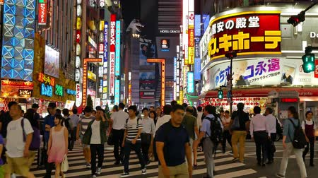 TOKYO - JAPAN, JULY 28, 2018 : A lot of people walking at Kabukicho and Shinjuku area in tokyo japan Stockvideo