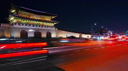gyeongbokgung : Time lapse of Gyeongbokgung palace and traffic in Seoul South korea.