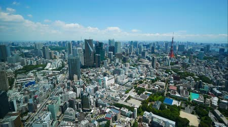 Time lapse view at Tokyo city with Tokyo Tower in japan Stok Video