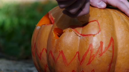 coisas : Halloween. Man hands carves a face in a pumpkin to make a jack olantern. Stock Footage