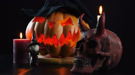 terribly : Halloween objects on dark background. Static camera Stock Footage