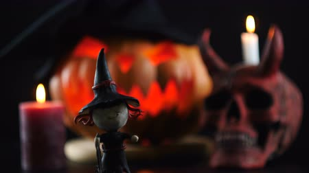 terribly : Halloween objects on dark background. Focus changes