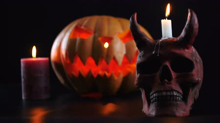 terribly : Halloween objects on dark background. Change of focus