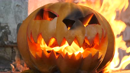 frightful : Halloween. Burning pumpkin. Close-up view Stock Footage