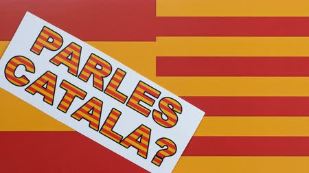 feloszt : Question to people, Parles Catala, illustration. Spain and Catalonia flag.