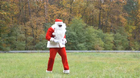 nativo : Santa Claus is dancing on the grass. Forest in the background. 50 fps