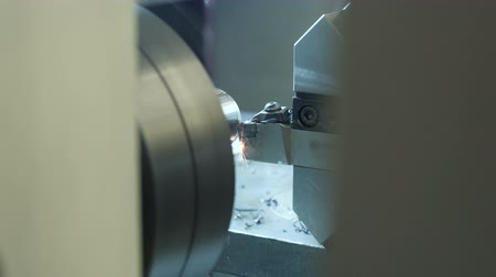 fitter : Lathe in operation, cutting a metal part. Cutting and processing of iron. Stock Footage