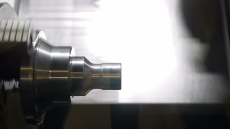 fitter : Lathe in operation, cutting a metal part. Cutting and processing of iron Stock Footage