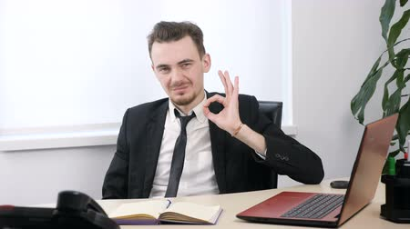 okey : Young businessman in suit sitting in office and showing ok sign. 60 fps Stock Footage