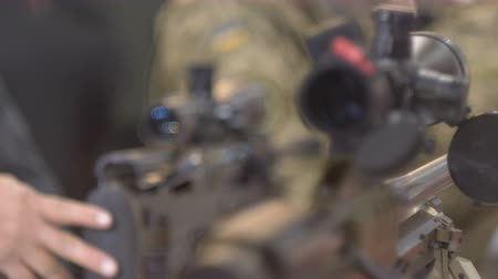 destroyer : Two sniper rifles, a change of focus, an optical sight, a bokeh 60 fps Stock Footage