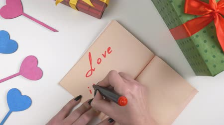 joyfulness : Valentines Day, illustration, womans hand writes in a dark brown notebook, Love is in the air 60 fps