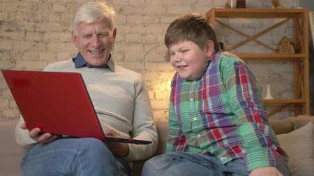 nicely : Grandfather and grandson are sitting on the couch and watching a funny movie on the laptop, laughing, speaking. Home comfort, family idyll, cosiness concept, difference of generations 60 fps Stock Footage
