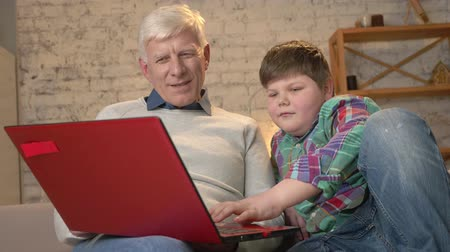 nicely : Young fat boy teaches grandpa how to use a laptop. Difference of generations. Home comfort, family idyll, cosiness concept. 60 fps