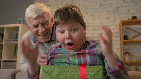 nicely : Grandfather gives his grandson a gift. An elderly man gives a gift to a fat child. Joy, surprise, happiness, emotion, feeling, impulsively, present. Home comfort, family idyll, cosiness concept, difference of generations, close up 60 fps Stock Footage