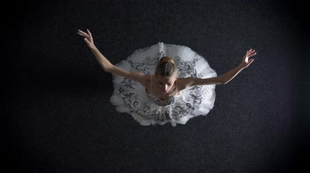 baletnica : Silhouette of young elegant woman ballerina in tutu is steping and spining, ballet concept, top shot Wideo