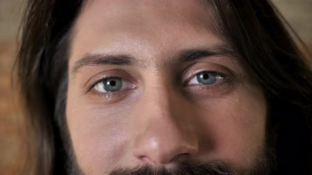 truly : Eyes of young nice brunette man with beard is watching at camera, brick background Stock Footage