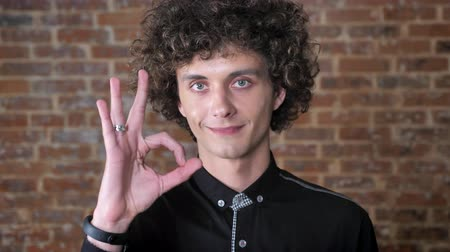 okey : Young caucasian man with curly hair showing all right sign and looking at camera, brick wall background Stock Footage