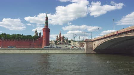 bridge man made structure : View of the Kremlin, the Kremlin Wall, St. Basils Cathedral and Bolshoy Moskvoretsky Bridge with Sofiyskaya naberezhnaya.