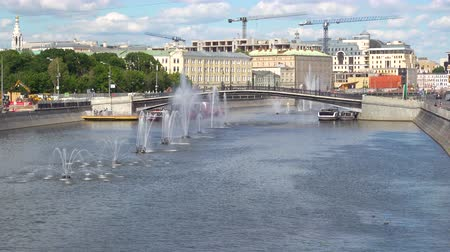bridge man made structure : Luzhkov Bridge and Fountains Swamp area in Moscow River on the clear summer day