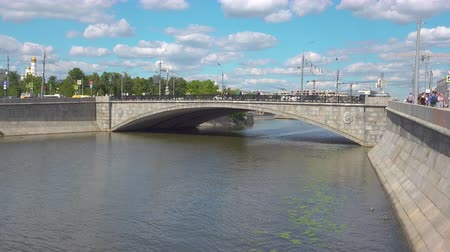bridge man made structure : Malyi Kamenny Bridge Moscow. Russia Stock Footage