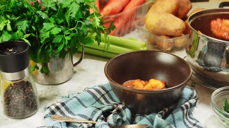 gulasz : Serving irish stew in a dish. Traditional St. Patricks day dish