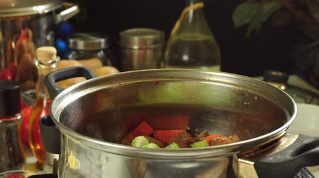 zeller : Cooking irish stew, inside a metal pot. Traditional St. Patricks day dish