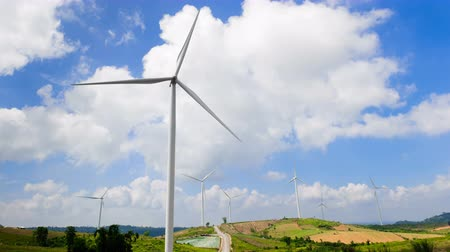 producing energy : wind turbine with blue sky background, wind energy. 4K Timelapse Stock Footage
