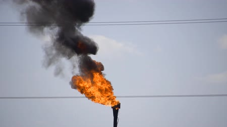 yok etme : The smoking gas torch. Environmental pollution. System of a torch on an oil field. Burning through a torch head.